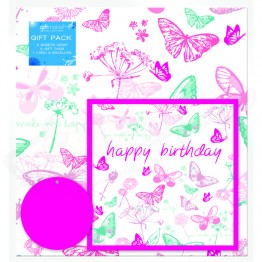 Butterfly Print Design, 2 Wrapping Sheets 70 x 50mm + 2Tags + 1Card