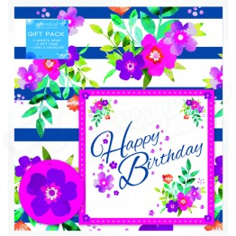 Floral Design, 2 Wrapping Sheets 70 x 50mm + 2Tags + 1Card
