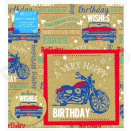 Retro Vehicle Design Happy Birthday, 2 Wrapping Sheets 70 x 50mm + 2Tags + 1Card