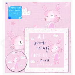 Baby Girl Design, 2 Wrapping Sheets 70 x 50mm + 2Tags + 1Card