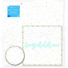 Congratulations Gold Design, 2 Wrapping Sheets 70 x 50mm + 2Tags + 1Card