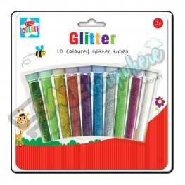 Kids Create 8 Coloured Glitter Tubes