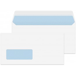 DL/Letter Size White Window 1000 Premium Envelopes 110mm x 220mm Peel & Seal 100gsm