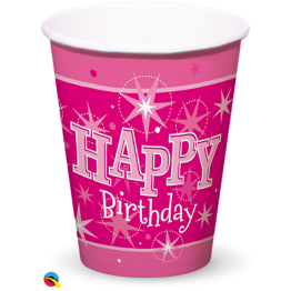 8 Paper Cups 200ml  Happy Birthday Pink  Sparkle
