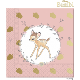 20 Paper Napkins Three Ply Bambi Cutie