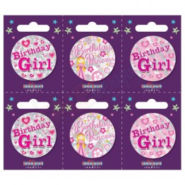 Birthday Girl 6 Small Badges