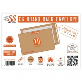 Board Back Manilla / Brown Envelopes A6/C6, Pack of 10