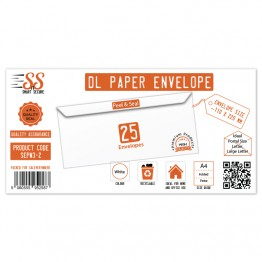 SnS DL Envelope White Pack of 25
