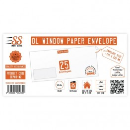 SnS DL Envelope White Window Pack of 25