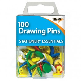 Tiger Essentials Colour Drawing Pins, Pack of 100