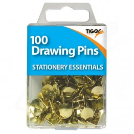 Tiger Essentials Brass Drawing Pins, Pack of 100