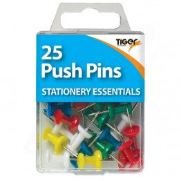 Tiger Essentials Colour Push Pins, Pack of 25