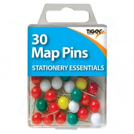 Tiger Essentials Colour Map Pins, Pack of 30