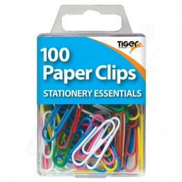 Tiger Essentials Colour Paper Clips, Pack of 100