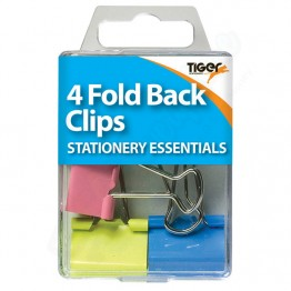 Tiger Essentials Colour Fold Back Clips, Pack of 4