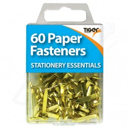 Tiger Essentials Paper Fasteners, Pack of 60