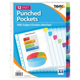 Punched Pockets 12 Part with Subject Dividers