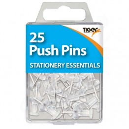 Tiger Essentials Clear Push Pins, Pack of 25