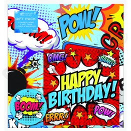 Comics Boom Design Happy Birthday, 2 Wrapping Sheets 70 x 50mm + 2Tags + 1Card