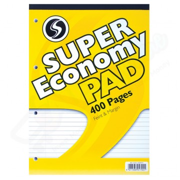 Silvine A4 Economy Refill Pad Lined with Margin, 400 Pages