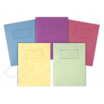 Silvine Exercise Book Lined with Margin Asst Colours 229mm x 178mm, 80 Pages