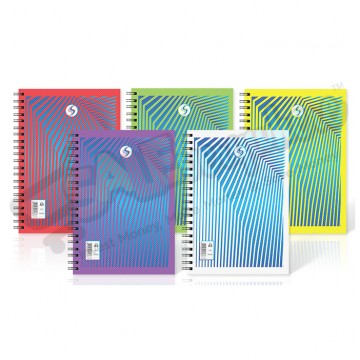 Silvine Twin Wire A5 Notebook Plastic Cover, 140 Pages