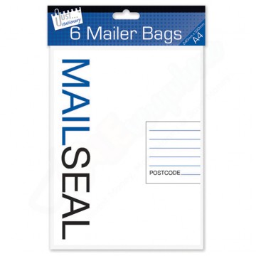 Mail Seal Poly Mailer Bags A4, Pack of 6